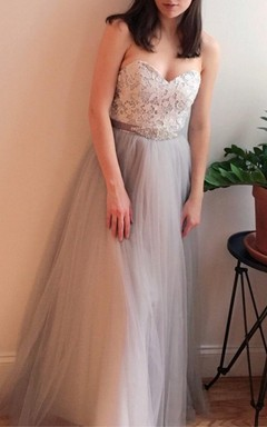 Gray Lace Strapless Wedding Vintage Boho Style Dress