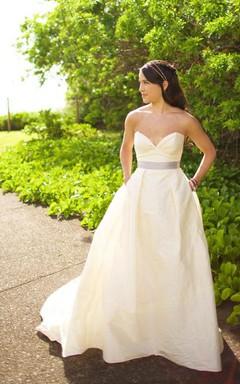 Deep Sweetheart Long A-Line Taffeta Wedding Dress With Satin Belt