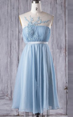 A-line Tea-length Chiffon&Tulle&Lace Dress With Illusion