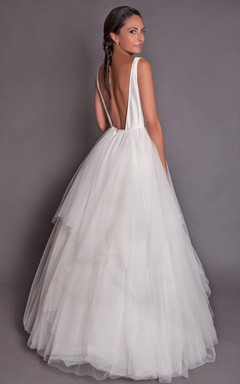 High Neck Sleeveless Backless Tulle Wedding Dress With Tiers