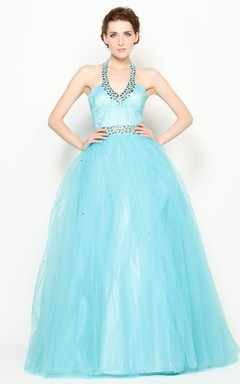 Sleeveless Ballgown With Jeweled Neckline and Waist