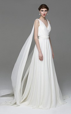 V-Neck Sleeveless A-Line Chiffon Wedding Dress With Watteau Train