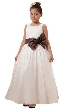 Sleeveless A-line Dress With Bow Tie