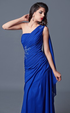 Elegant One Shoulder Ruched Stretch Mesh Dress With Beaded Detail and Stole