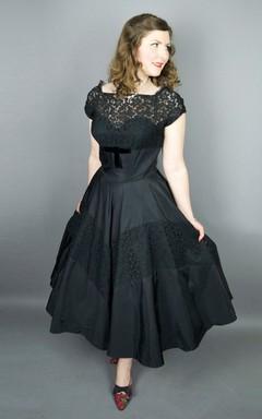 Cap-sleeve Tea-length A-line Satin Dress With Lace