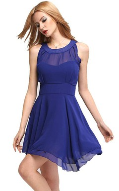 Sleeveless A-line Chiffon Dress With Illusion Style