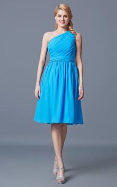 Ruched One Shoulder Knee Length Chiffon Bridesmaid Dress