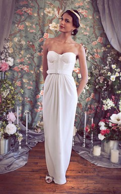 Sweetheart Empire Pencil Chiffon Wedding Dress With Sash And Button Back