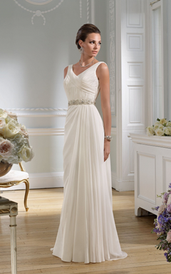 V-neck Sleeveless Open Back Bridal Dress With Beaded Belt