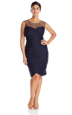 Form Fitting Chiffon Short Dress With Beaded Neck