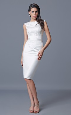 Cap Sleeve Knee Length Formal Dress with Appliques