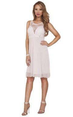 Sleeveless Knee-length Dress With Illusion Neckline