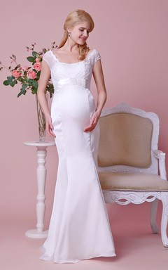 Lace Cap-sleeved Mermaid Satin Gown With Empire Waist and Bow