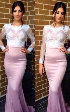 Sexy Jewel Long Sleeve Mermaid Prom Dress With Lace Appliques