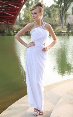 Body-Fitting Asymmetrical One-Shoulder Dress With Beaded Strap