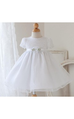Infant Short Sleeve Jewel Neck Organza Pageant Dress With Flower Belt