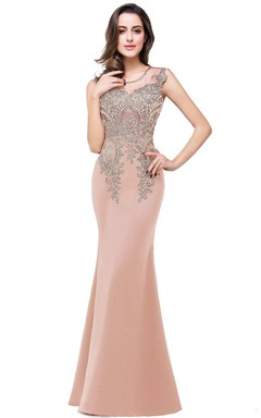 Mermaid Long Sleeveless Appliques Lace Satin Dress
