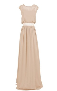 Cap-sleeved Long Chiffon Dress With Dropping