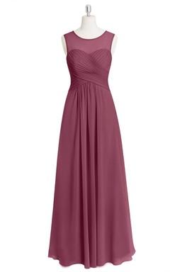 A-Line Chiffon Sleeveless Dress With Illusion Top and Crisscross Ruching