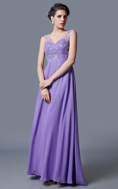 Ethereal Empire Waist Deep Vneck Princess Gown Elegant Beadwork Chiffon Skirt