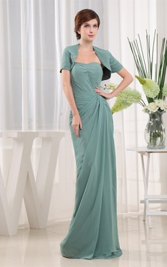 Sweetheart Chiffon Long Dress with Central Ruching and Bolero