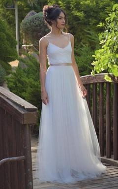 Spaghetti Sleeveless Tulle Pleated Floor-Length Wedding Dress With Bow