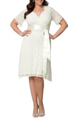 Short Sleeve Scalloped-Edge V-neck Knee-length Lace Dress With Satin Sash