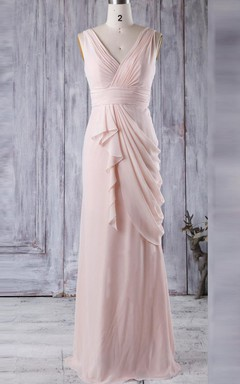 Floor-length V-neck Chiffon Dress With Draping