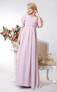 Short Sleeve V Neck Long Empire Bridesmaid Dress
