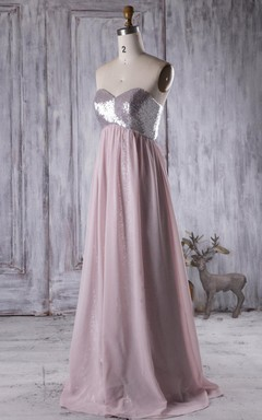 Empire Strapped Sweetheart Empire Chiffon Dress With Sequins