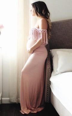 Long Off-the-shoulder Jersey Dress