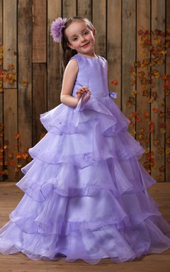 High-Neck Strapless Tiered Flower Girl Dress With Bow