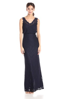 Noble V-neck Lace Sheath Long Dress With Center Back Split