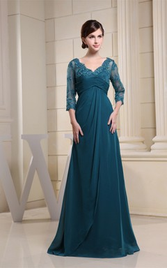 V-Neck Empire Floor-Length Dress with Appliques and Illusion Sleeve