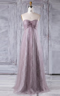 Empire Long Strapped Sweetheart Empire Tulle&Lace Dress