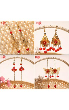 Bride Red Earrings Chinese Dress Show Kimono Wedding Suits Costume Flag Crystal Earrings