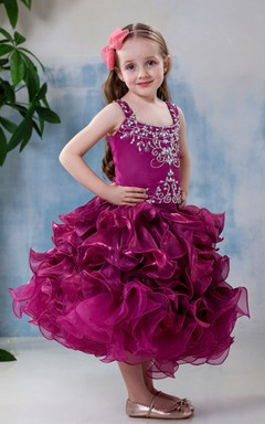 Strapped Tea-Length Ruffled Flower Girl Dress With Embroideries