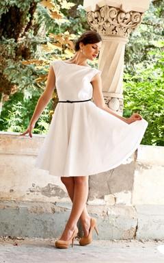Mini Tea-Length Backless Taffeta Weddig Dress