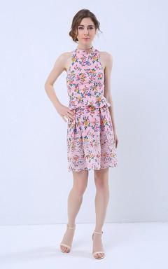Floral Print Halter Neck Keyhole Back Peplum Short Dress