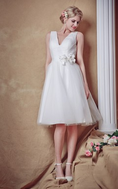 Sweet V-neck Tulle Gown With Ruched Waist and Satin Belt