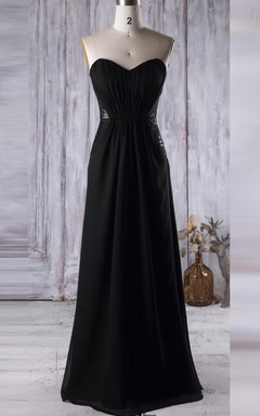A-line Floor-length Strapped Backless Chiffon&Lace Dress
