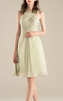 A-line Knee-length Strapped Chiffon Dress With Criss cross