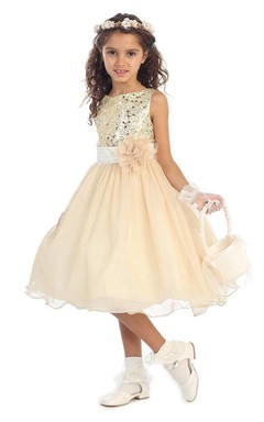 Sleeveless A-line Dress With Flower and Sequins