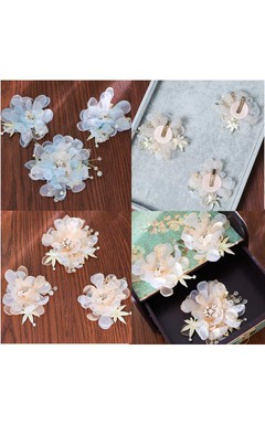 Bride Headdress Korean Chiffon Head Flower Sweet Starfish Hairpin Side Trim Toast Dress Accessories