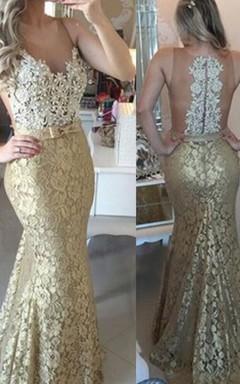 Trumpet Mermaid Scoop Sleeveless Lace Applique Floor-Length Dresses