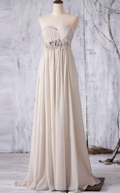 Empire Long Strapped Sweetheart Empire Chiffon Dress