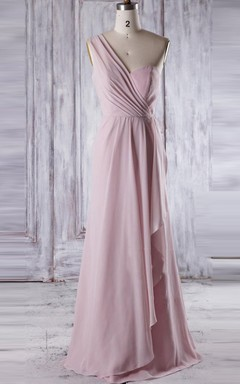 A-line Maxi One-shoulder Chiffon Dress With Draping&Ruffles
