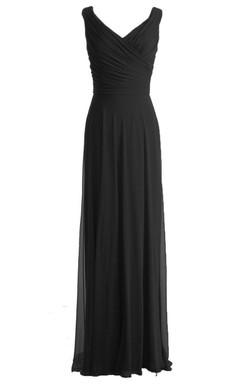V-neckline Floor-length Dress With Zipper Back