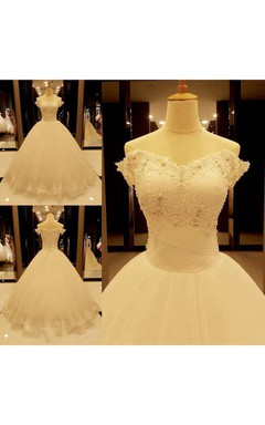 Stunning Off-the-Shoulder Tulle Lace Wedding Dress 2016 Ball Gown With Beadings
