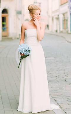 Chiffon Satin Lace Lace-Up Corset Back Wedding Dress